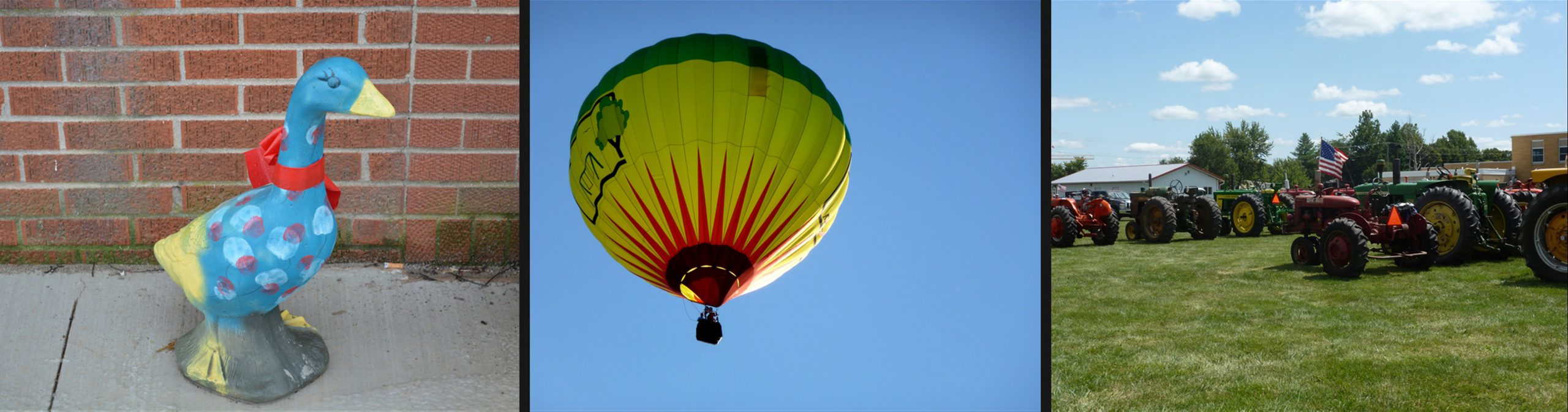 Cullom Illinois Attractions: Gaudy Geese, Hot Air Balloon Festival, and Tractors at Festival