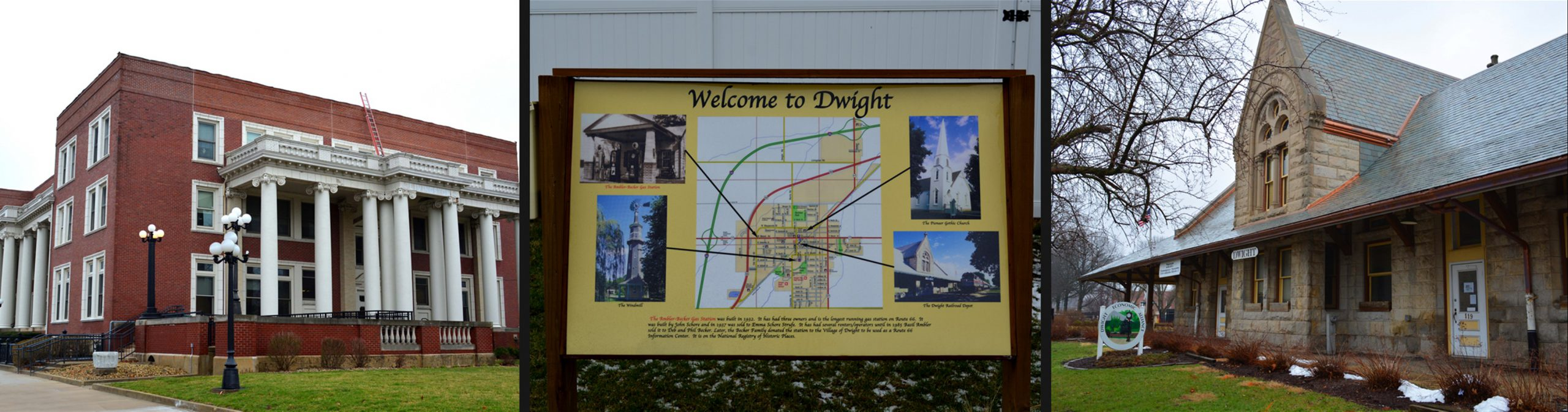 Dwight Illinois Attractions: Historic Keeley Institute, Welcome to Dwight Map, and Train Depot Museum