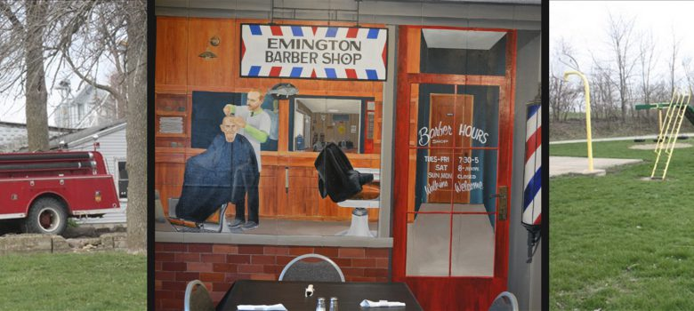 Emington IL Attractions: Emington Firetruck, Historic Barber Shop Mural, and Park Playground