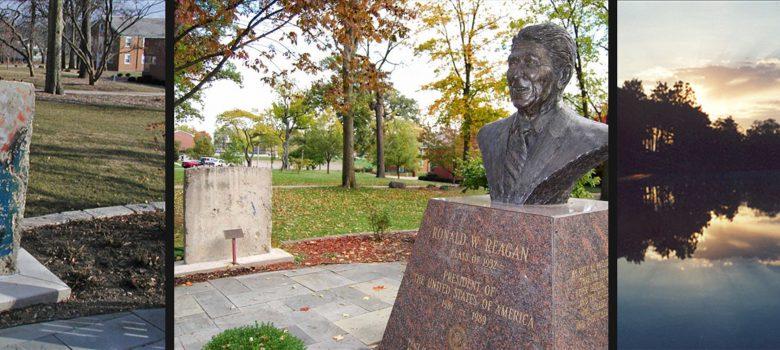 Eureka IL Attractions: Ronald Reagan Museum Statue and Display at Peace Garden, Lake Eureka at Sunset