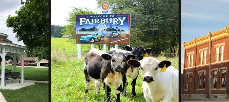 Fairbury Illinois Attractions: Marsh Park Gazebo, Cows in front of Welcome to Fairbury Sign, and a Historic Bank Building turned restaurant named Lost in Time