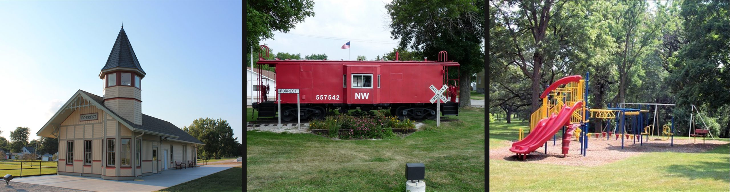 Forrest Illinois Attractions: Historic Train Depot, Train Caboose, and Park Playground