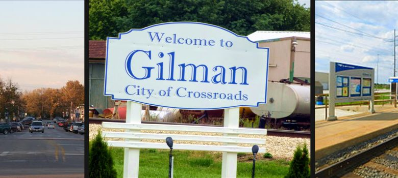 Gilman Illinois Attractions: Historic Downtown, Welcome to Gilman Sign, and Train Station