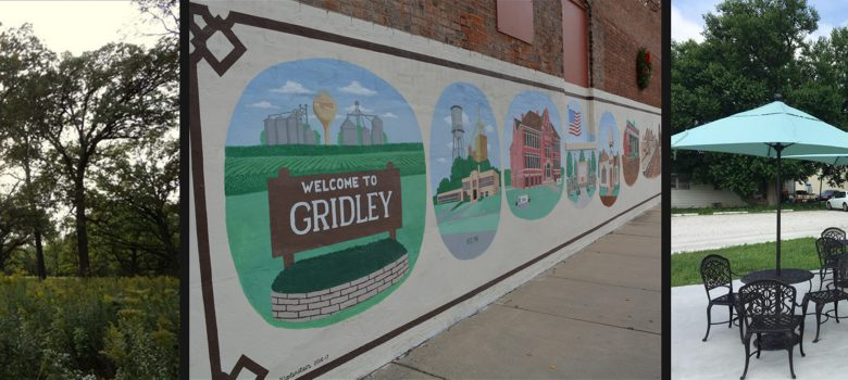 Gridley Illinois Attractions: trees and prairie land, Welcome to Gridley Mural, Common Grounds Cafe