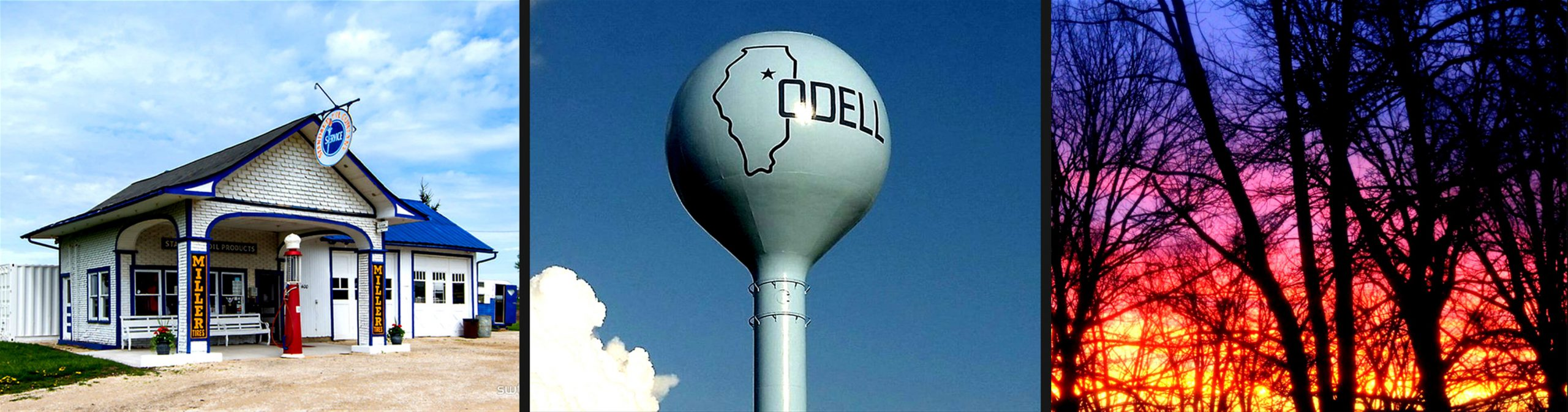 Odell Illinois Attractions: Historic Route 66 Gas Station and Museum, Water Tower, and Sunset with Trees