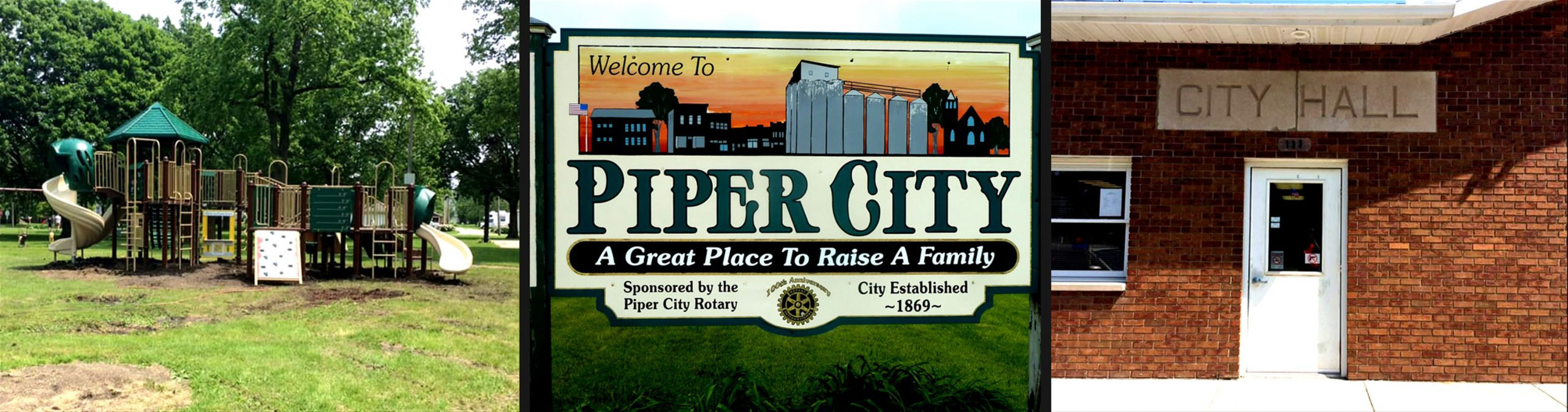 Piper City Illinois Attractions: Park Playground, Welcome to Piper City Sign, City Hall Building