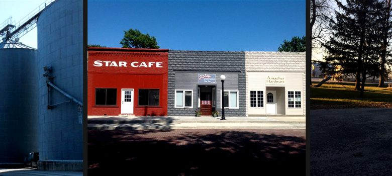 Sibley Illinois Attractions: Grain Bins, Downtown Cafe and Shops, Park Gazebo