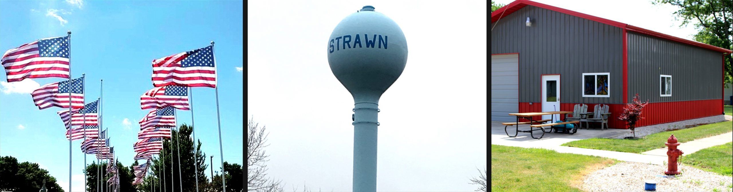 Strawn IL Attractions: Veterans memorial, water tower, and community building